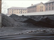 Coal piled in the yard at Central Broadcasting 1980