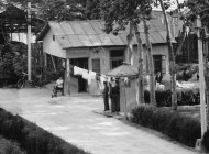 Guard Hut and laundry outside Foreign Experts Building, Radio Beijing, 1980; by Gail Pellett