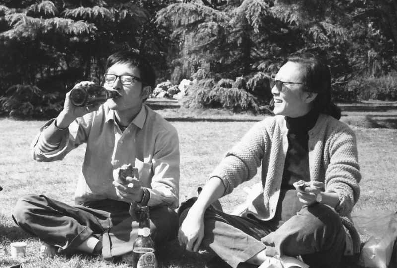 Zhang Qingnian, Features Section Leader, English Department picnic, Radio Beijing, 1981; by Gail Pellett